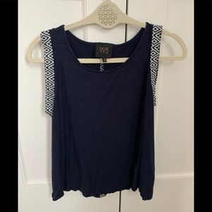 Anthropologie W5 Navy/white tank top Medium